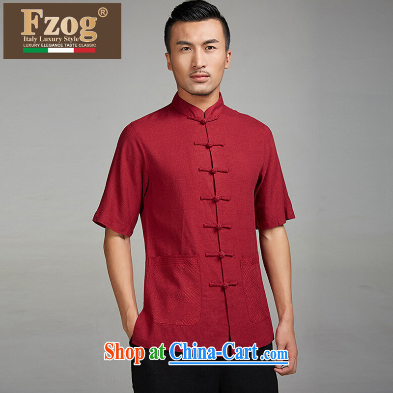 2015 FZOG new summer middle-aged short-sleeved father loaded the code, for thin Chinese-buckle Tang red XXXL