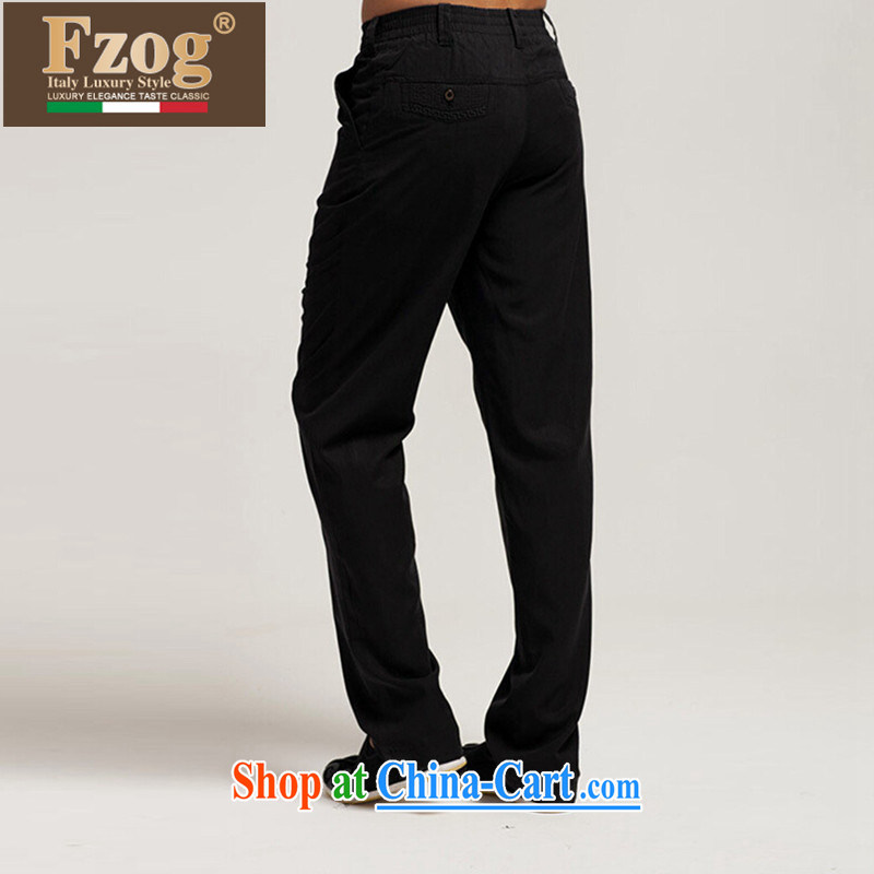 FZOG summer 2015 new trousers China wind Chinese Chinese comfort and breathability black casual pants and black XXXL