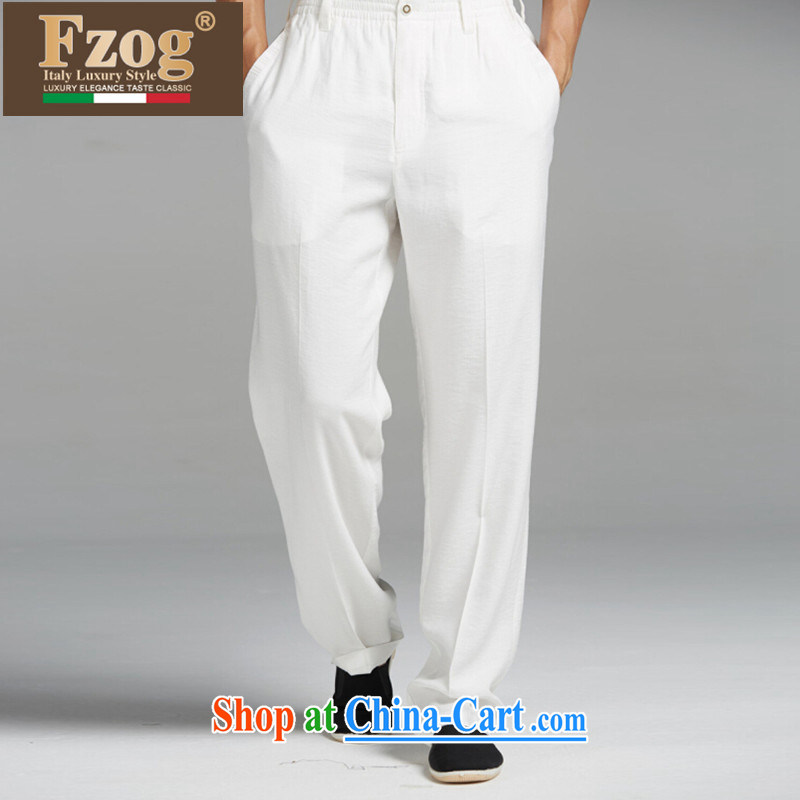 FZOG summer 2015 new genuine counters leisure loose Chinese Chinese wind long pants and comfortable men's white XXXL