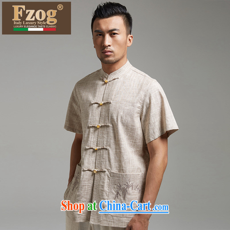 2015 FZOG new high-end linen short-sleeve men's summer leisure China wind, breathable shirt m yellow XXXXL