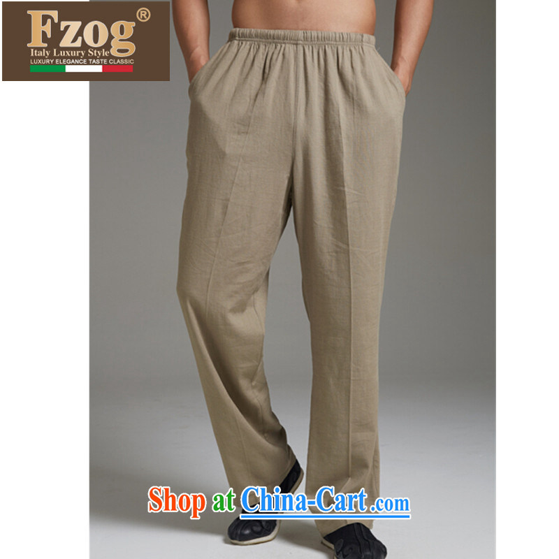 FZOG genuine counters Tang is casual long pants, comfortable China's air-elastic waist solid color and the green XXXXL