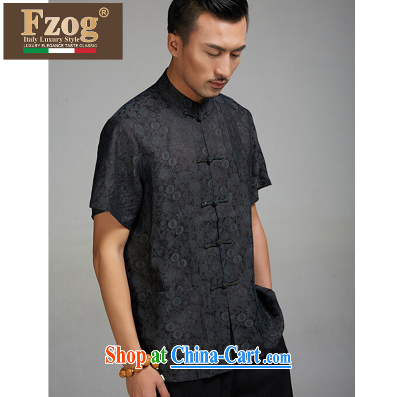 FZOG summer 2015 new leisure men's short-sleeved Chinese wind Tang discs for Chinese, for T-shirt black XXXXL