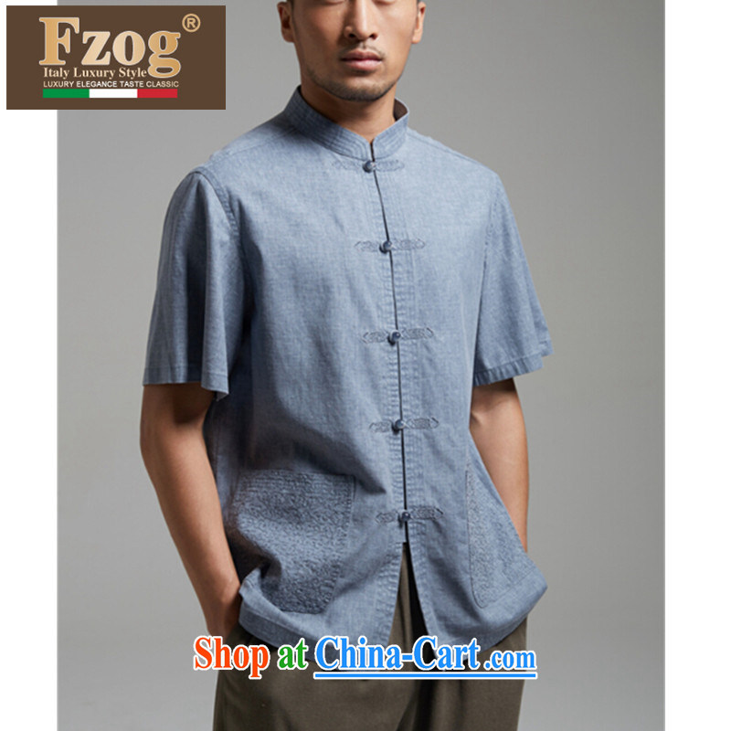 FZOG summer 2015 new men in the elderly, short-sleeved shirts, T-shirts for my father with the buckle Tang with gray-blue XXXL