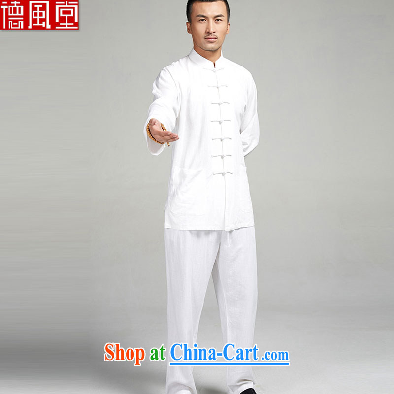 De-tong Kit T-shirt + pants 100% linen long-sleeved Chinese the howling ghost the double-shoulder 7 snap-spring Tang jackets Chinese Wind and Tai Chi uniforms white XL