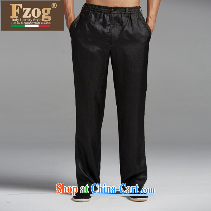 Summer FZOG new upscale China wind Chinese leisure thin comfort and breathability and long pants black XXL