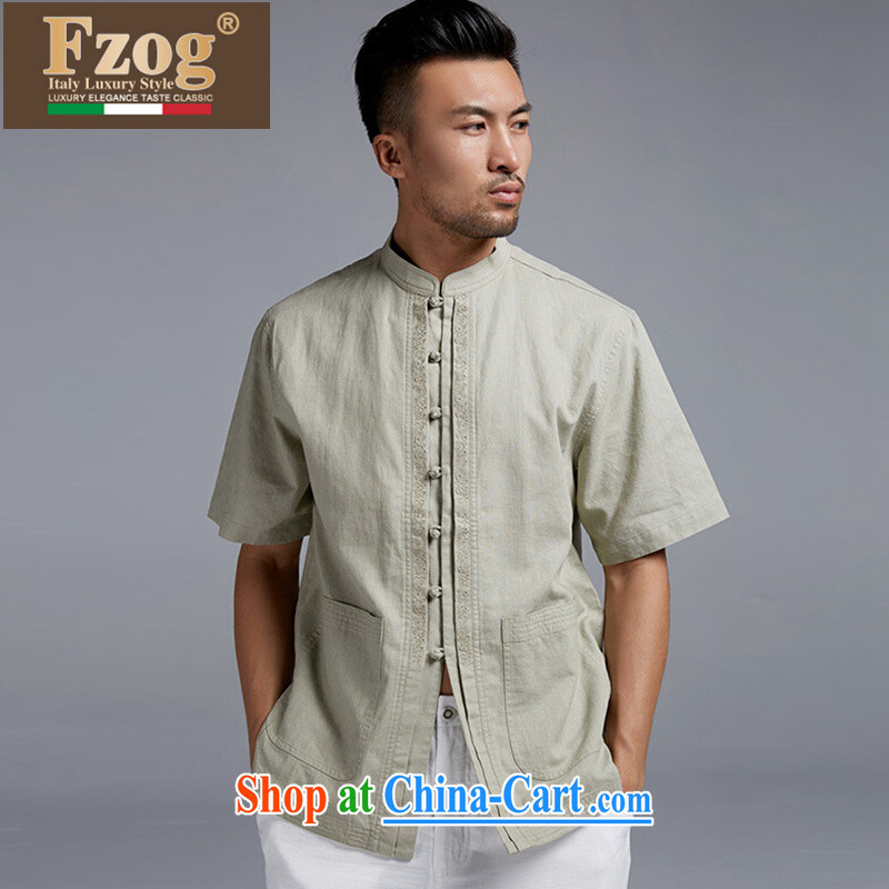 FZOG genuine counters leisure China wind-buckle clothing men's Chinese short-sleeved light green thin breathable Tang with light green XXXL