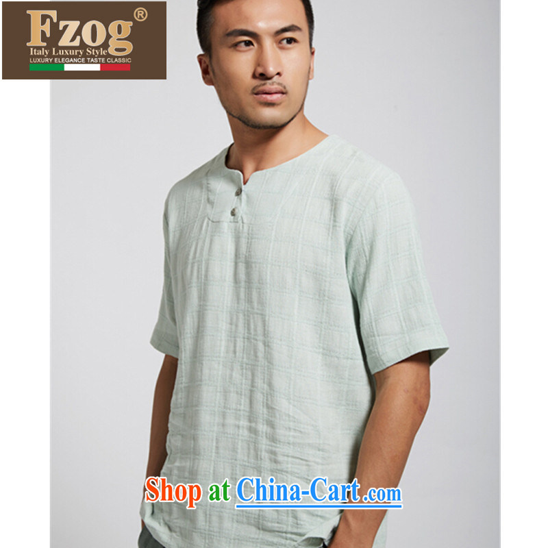 FZOG summer 2015 new short-sleeved T-shirt classic Chinese wind men's comfortable Chinese iron-free light blue XXXL