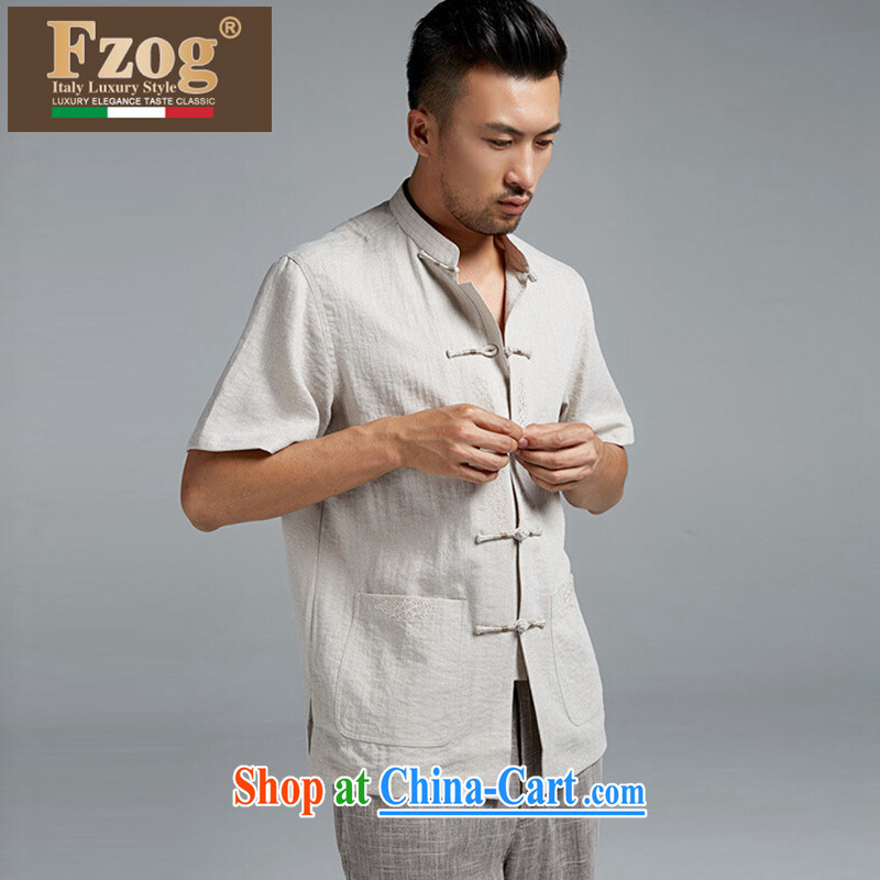 FZOG in summer 2015 men's short-sleeved Tang replace older Dad loaded thin breathable casual shirt light gray XXXXL