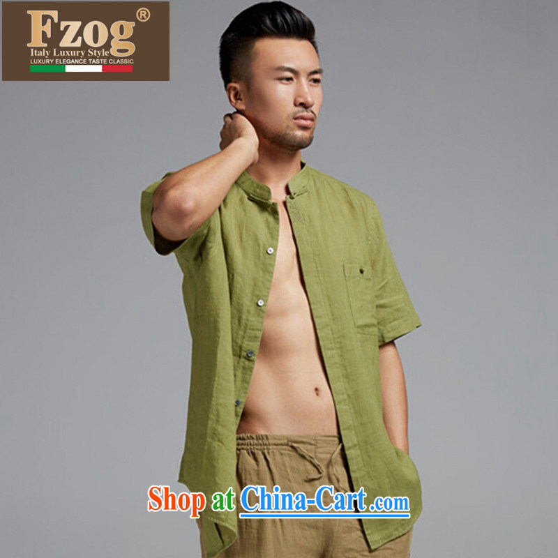 FZOG summer 2015 New China wind short-sleeved, collared T-shirt casual Chinese male, thin breathable green XXXL