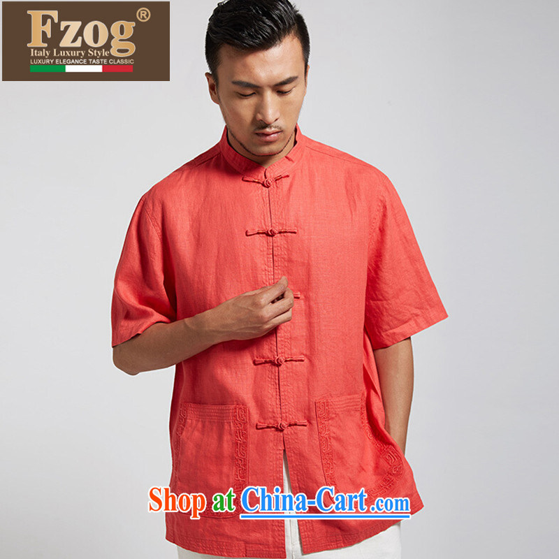 FZOG China wind summer new casual male Chinese Chinese-tie, for thin and comfortable T-shirt orange red XXXL