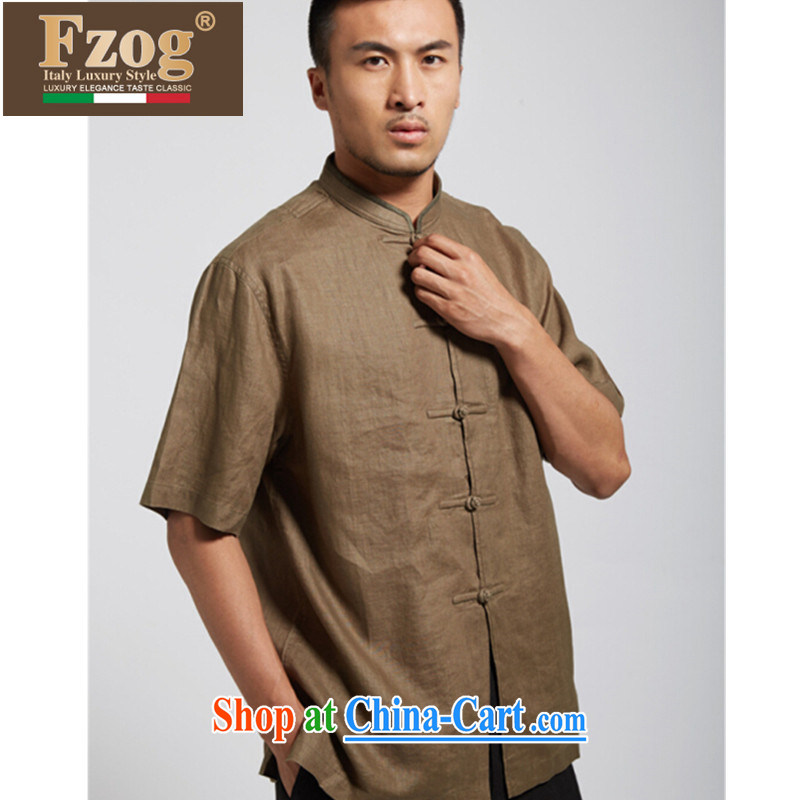 FZOG summer 2015 new short-sleeved leisure Chinese China wind up for men's Chinese-buckle clothing and dark green XXXL