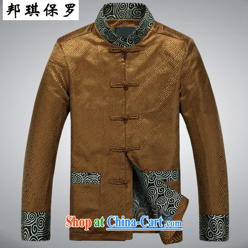 Bong-ki Paul autumn and winter New Tang with long-sleeved men and older persons in jacket coat, for my father the national costumes, clothing and China wind clothing cotton clothing gold XXXL