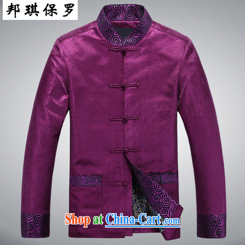 Bong-ki Paul Winter new, older Tang jackets men's thick cotton suit jacket old warm festive jacket jacket retro jacket purple L