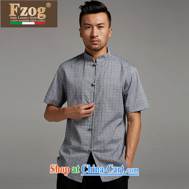 FZOG short-sleeved summer male China wind Lounge, for popular stamp gray thin breathable Tang with gray XXXL