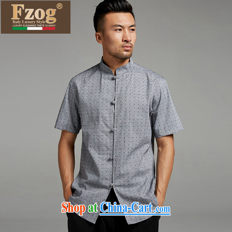 FZOG short-sleeved summer male China wind Lounge, for popular stamp gray thin breathable Tang with gray XXXL, FZOG, shopping on the Internet