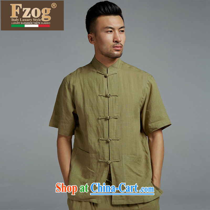 FZOG Chinese style Chinese short-sleeved high-end linen Chinese T-shirt summer Classic manual tray snap male yellow and green XXXL
