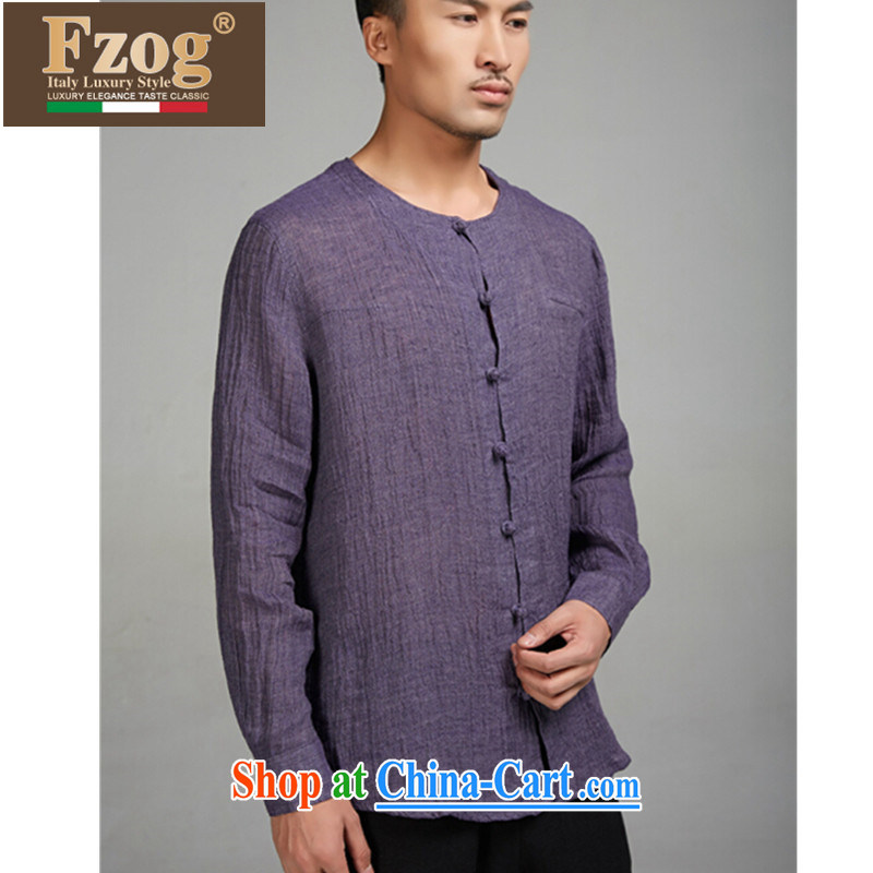 FZOG high correct Chinese wind male Chinese linen long-sleeved T-shirt summer round-collar antique Chinese purple XXXL