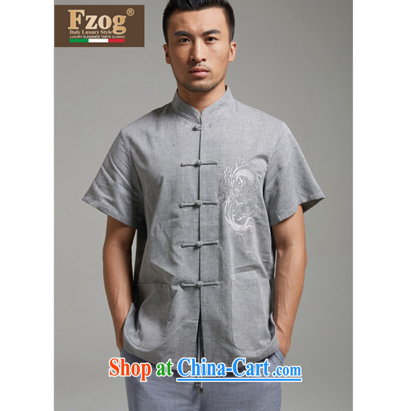 FZOG summer 2015 New Men's T-shirt Chinese-tie, short-sleeved Chinese iron-free father with gray XXXL