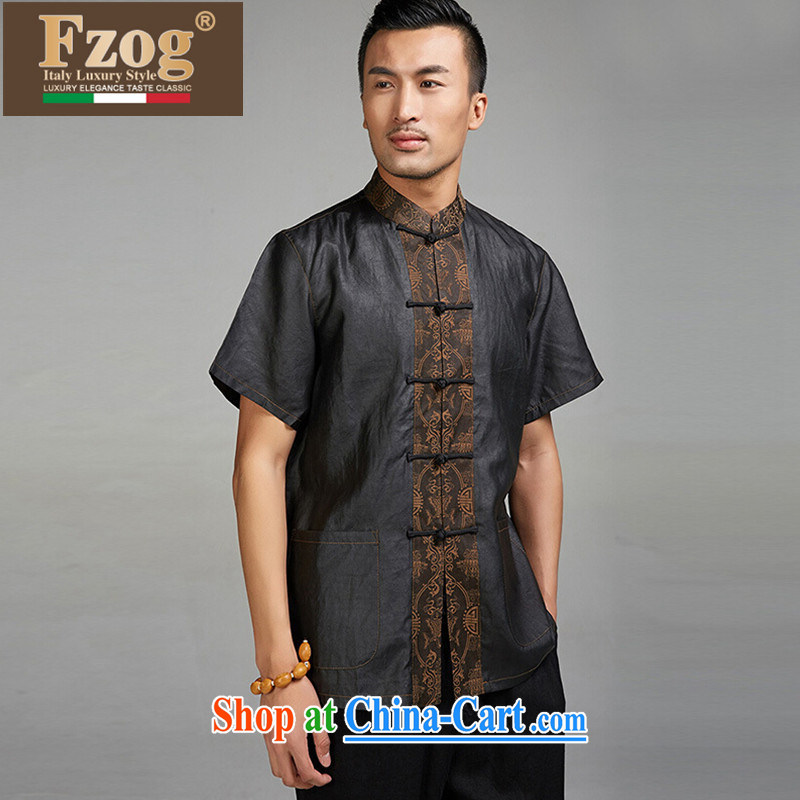 Summer FZOG new father replacing men, short-sleeved Chinese-buckle clothing retro China wind Tang black XXXL