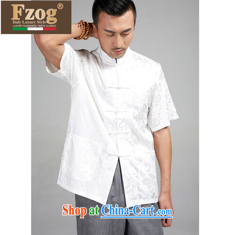 FZOG summer 2015 new, larger Chinese short-sleeved Chinese national costumes, men, for the buckle clothing white XXXXL