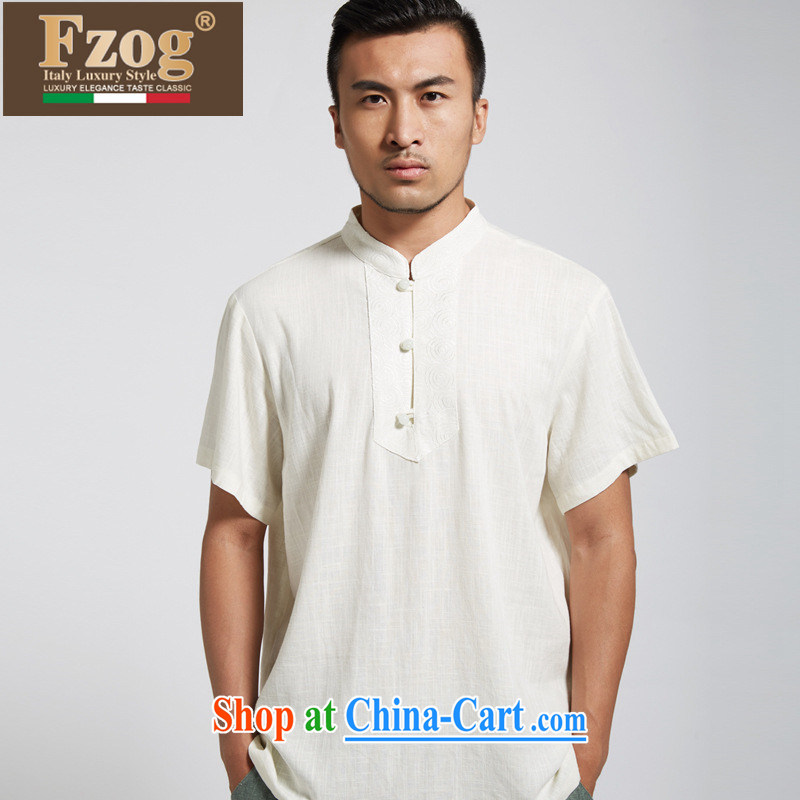 FZOG China wind up for men's national costume retro linen T-shirt youth comfortable genuine Chinese light yellow XXXL