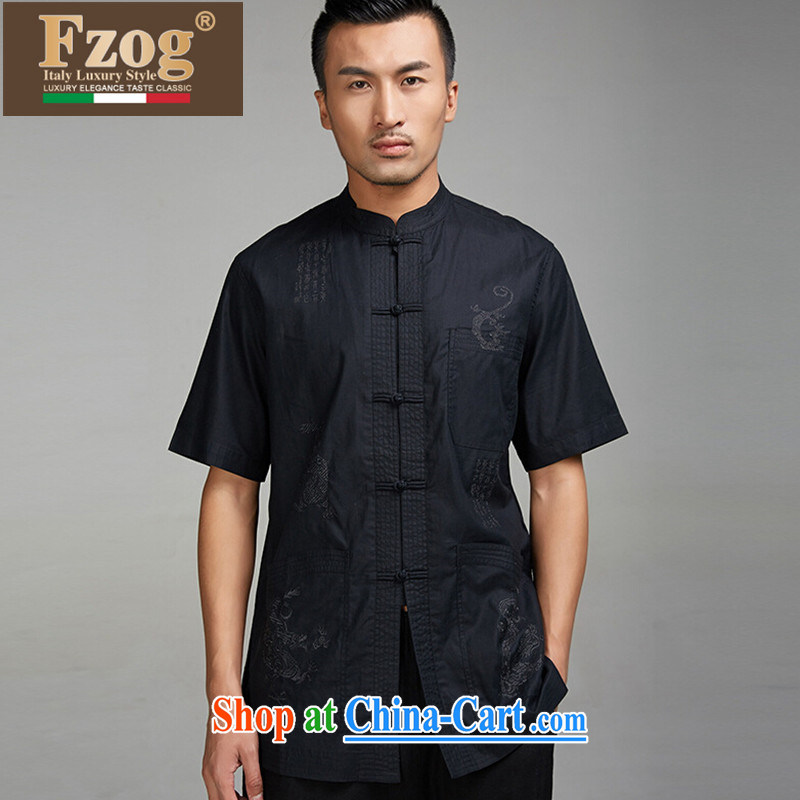 FZOG Tang is male, older short-sleeved tray snap National Service embroidered summer thin, for black T-shirt black XL
