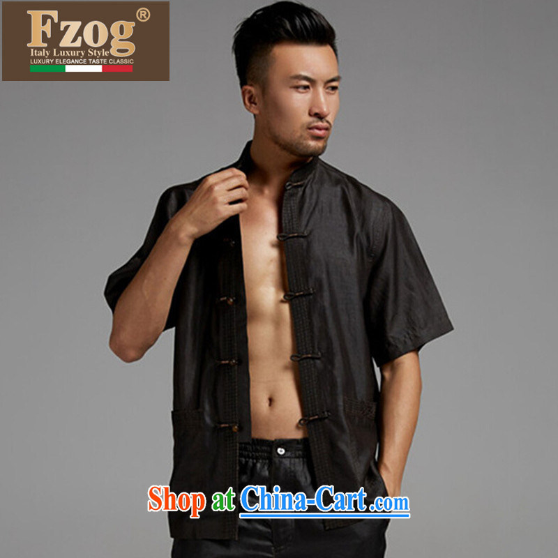 FZOG Tang is casual shirt, older high-end sauna silk China wind men's short-sleeved thin Grandpa black XXL