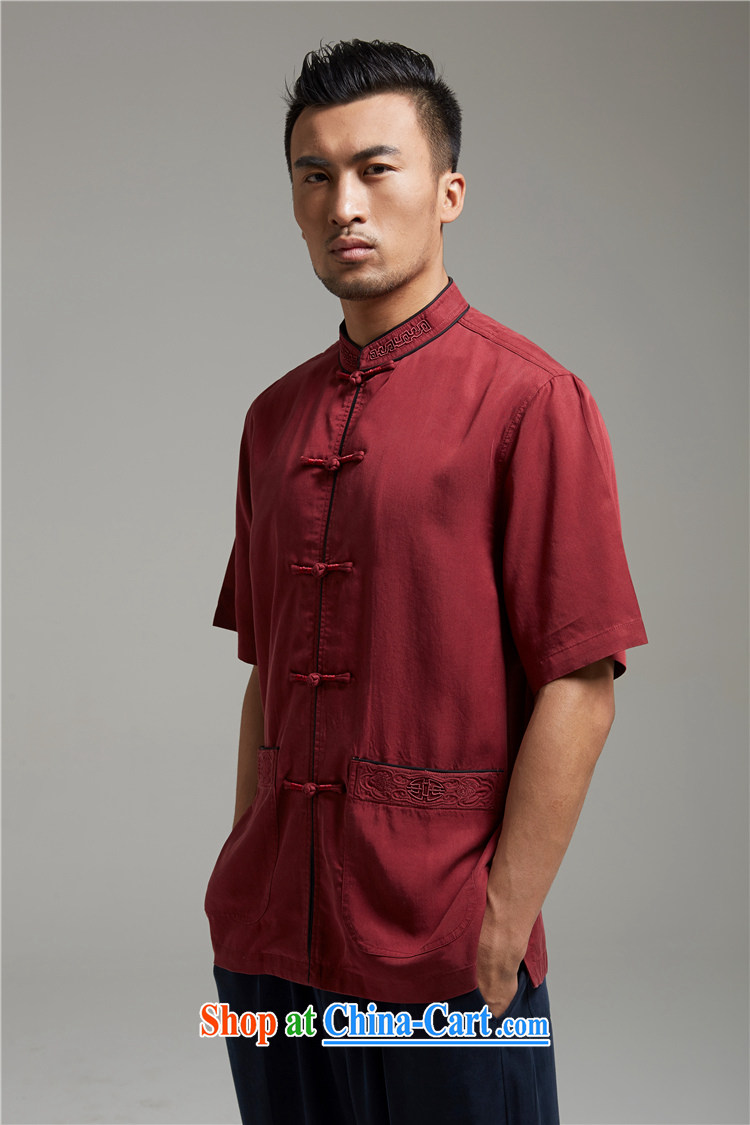 FZOG summer 2015 New Men's Chinese-buckle Tang fitted T-shirt, middle-aged, short-sleeved, Father red XXL pictures, price, brand platters! Elections are good character, the national distribution, so why buy now enjoy more preferential! Health