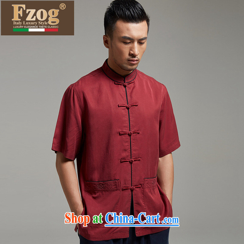 FZOG summer 2015 New Men's Chinese-buckle Tang fitted T-shirt thin middle-aged short-sleeved, Father red XXL, FZOG, shopping on the Internet