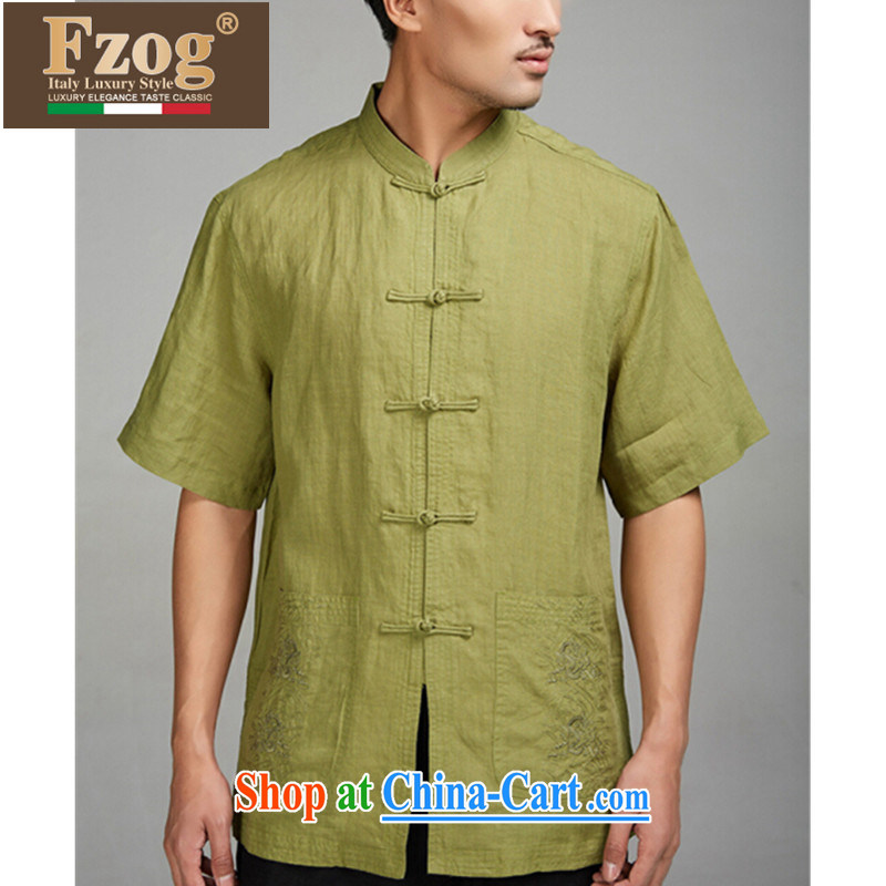 FZOG new linen men's Chinese Chinese-tie short-sleeved T-shirt Chinese style solid color summer from hot green XXXL