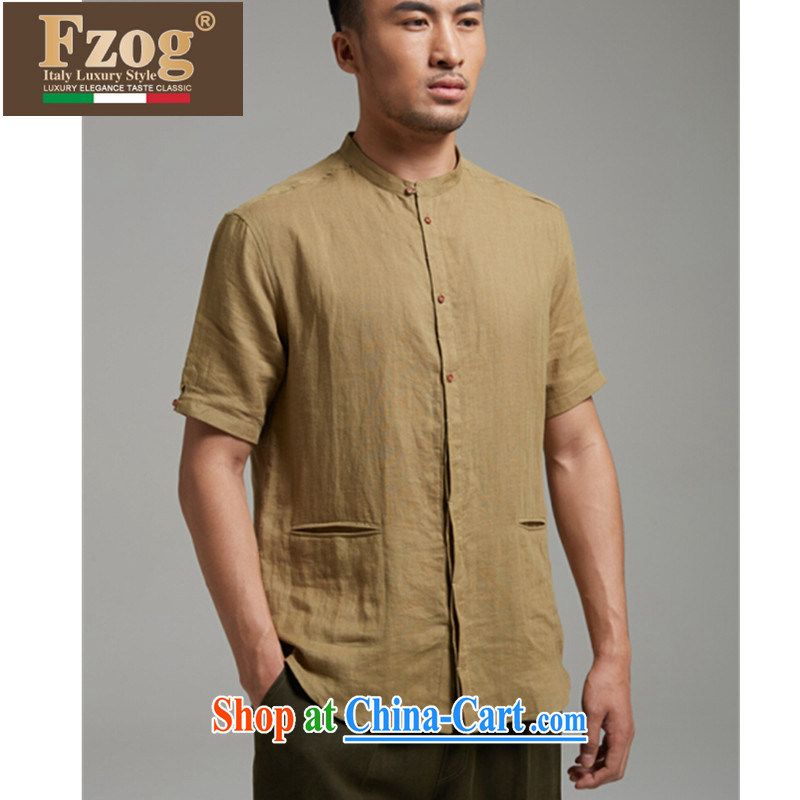 Summer FZOG new short-sleeved shirt retro men and replace the collar, breathable China wind linen shirt the green XXXL