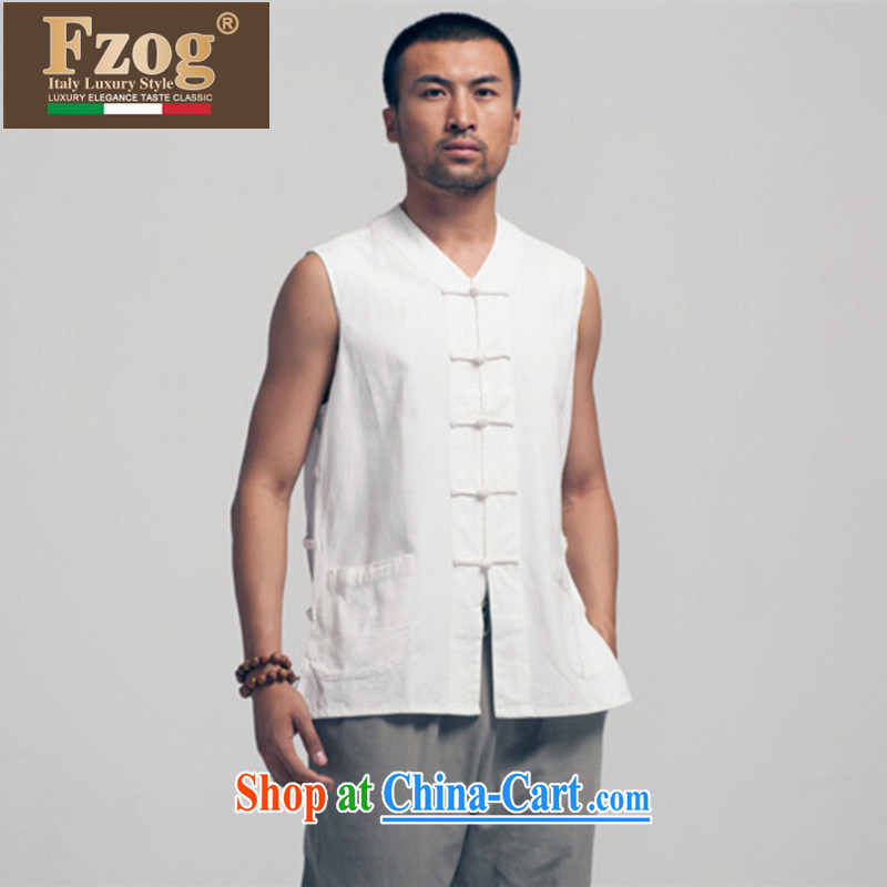 FZOG summer 2015 new the shoulder male ethnic wind Chinese Chinese Antique V collar white shirt white XXXL
