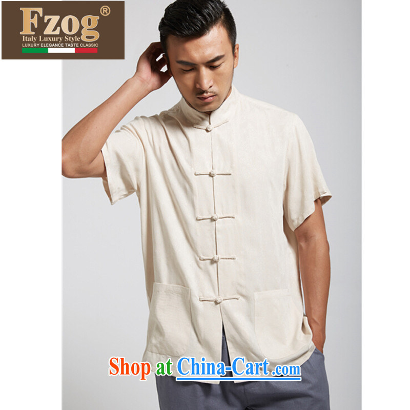 FZOG Chinese style Chinese summer 2015 short-sleeved Chinese-buckle Cotton Men's casual shirt from hot genuine Cornhusk yellow XXXL