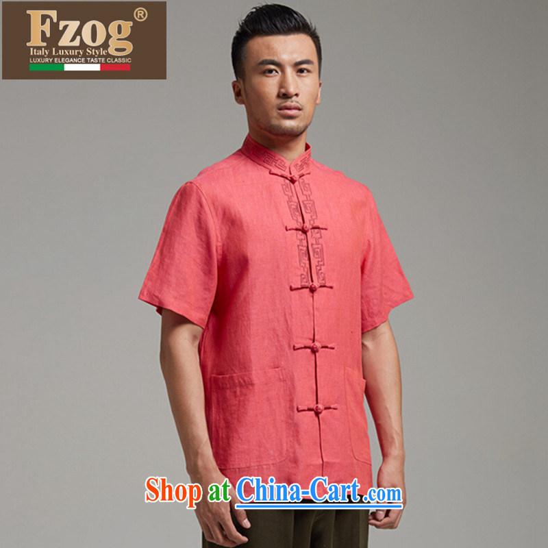 FZOG Chinese style Chinese men's summer short-sleeved Chinese-tie up for banquet dad, T-shirt is magenta燲XXL
