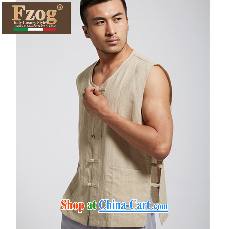 FZOG China Summer 2015 New Men's genuine Chinese elderly in leisure solid-colored T-shirt yellow XXXL