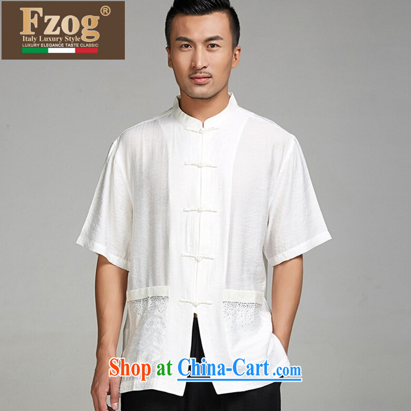 FZOG high-end Chinese leisure T-shirt middle-aged and older persons, served Chinese style men's short-sleeve and collar father replace white XXXL