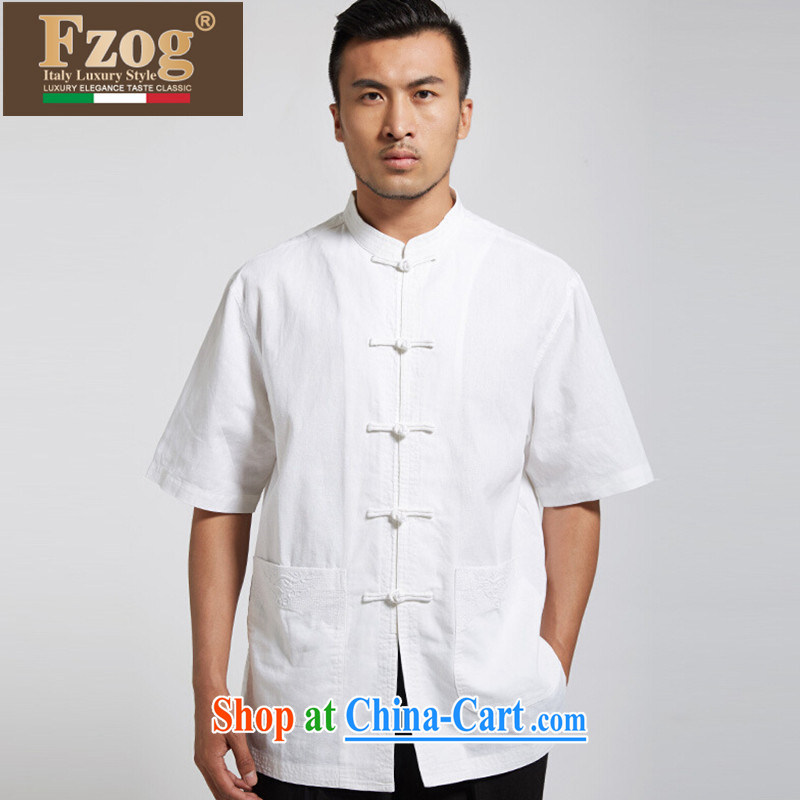 FZOG China wind men's 2015 summer thin short-sleeved Chinese-buckle up for leisure breathable Chinese White XXXL