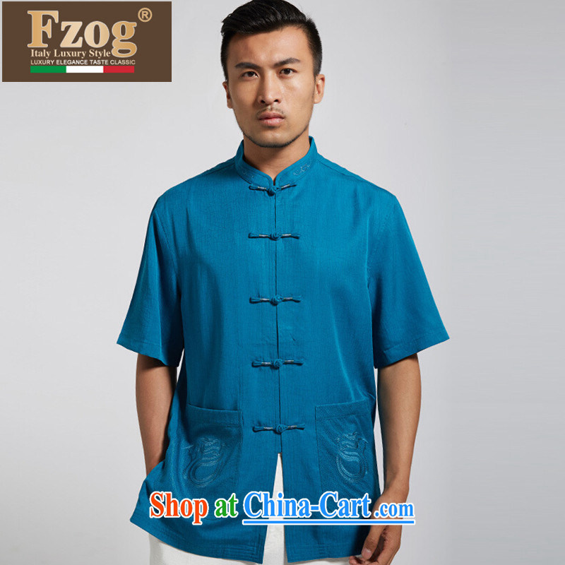 FZOG classic embroidery short-sleeved, collared T-shirt Mr Ronald ARCULLI in men's National wind Chinese-buckle Tang blue XXXL