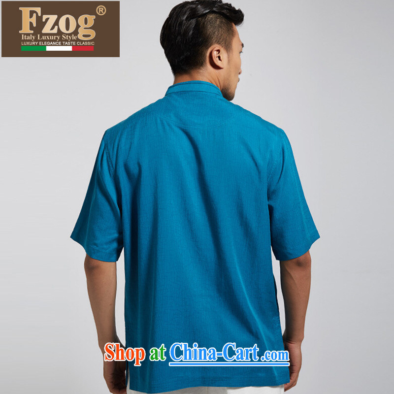 FZOG classic embroidery short-sleeved, collared T-shirt Mr Ronald ARCULLI in men's National wind Chinese-buckle Tang blue XXXL, FZOG, shopping on the Internet