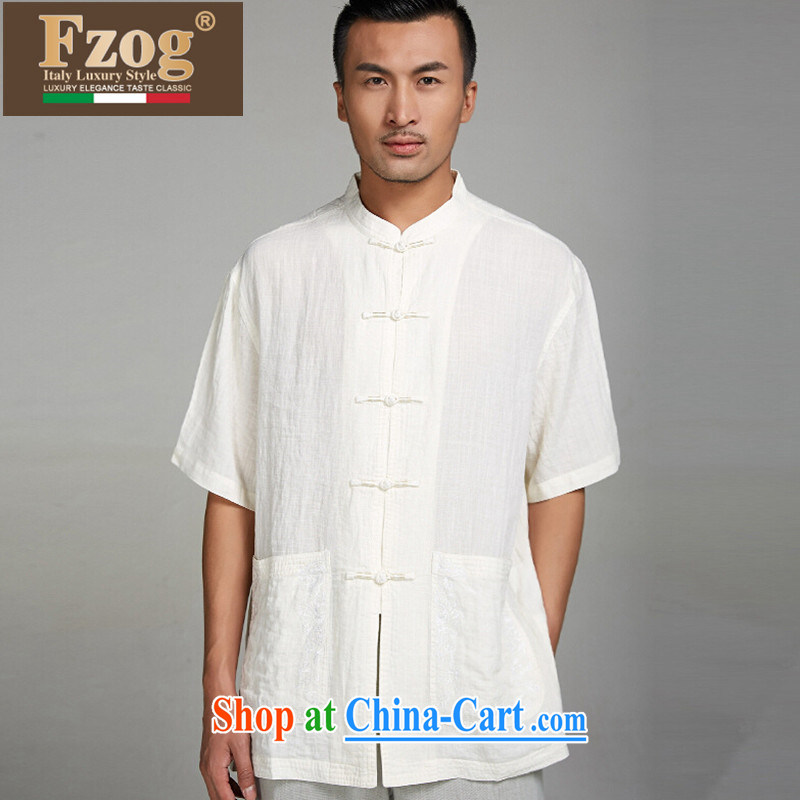 FZOG summer 2015 men's Chinese elderly in short-sleeved China wind father is comfortable and solid-colored T-shirt white XXL