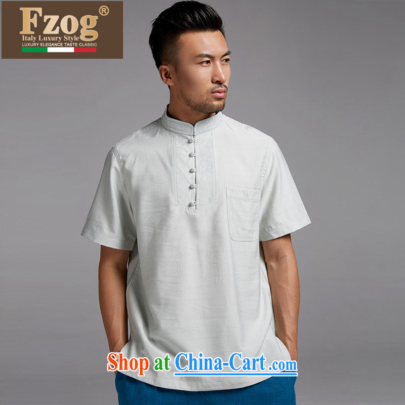 FZOG China wind men's Tang is short-sleeved, collared T-shirt high-integrity, national costumes and Leisure summer light green XXXXL