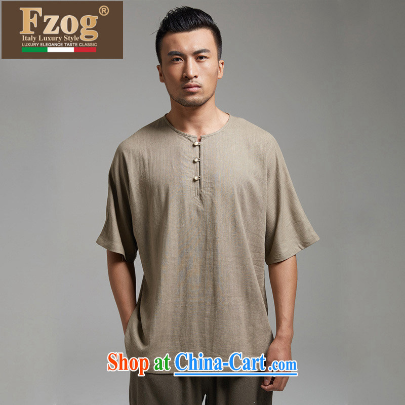 FZOG genuine counters antique Chinese men's summer round-collar short-sleeved dress, comfortable T-shirt brown XXXXL