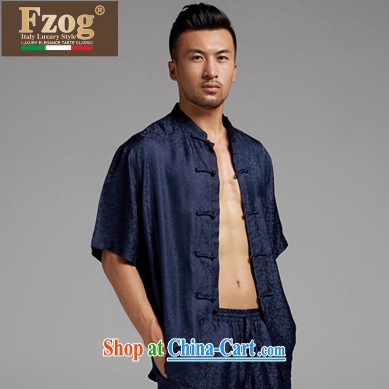 FZOG high-end sauna silk short-sleeved T-shirt Chinese classic hand-tie China wind men's leisure Tang blue XXXL