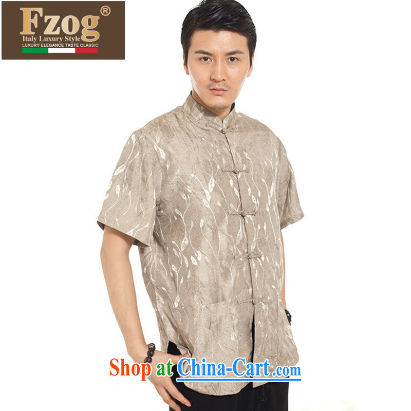 FZOG summer 2015 New Men's antique China Tang is short-sleeved tray snaps, stamp duty for T-shirt and coffee-colored XXXXL