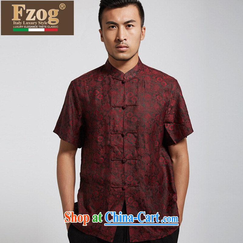 FZOG summer 2015 New China wind Chinese men's short-sleeved T-shirt Chinese, for the charge-back the Code Red XXXL