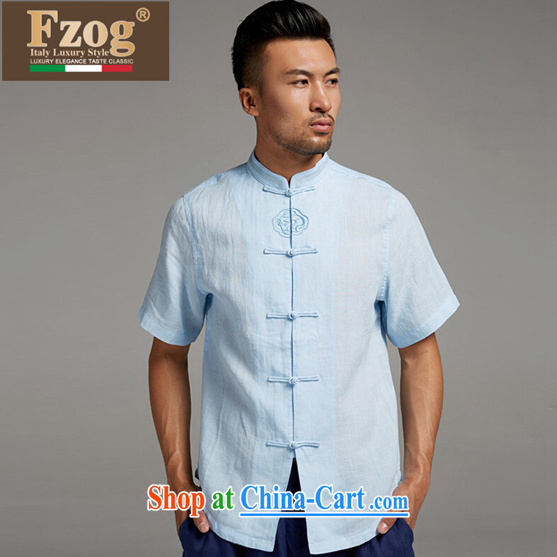 FZOG men's Chinese elderly in summer breathable dress short-sleeved Chinese-tie, collared T-shirt blue XXXL