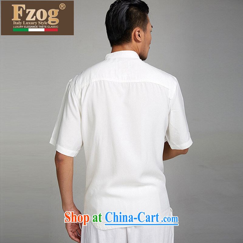 In FZOG older men's father is Chinese 2015 summer short-sleeve national winds, the buckle clothing white XXXL