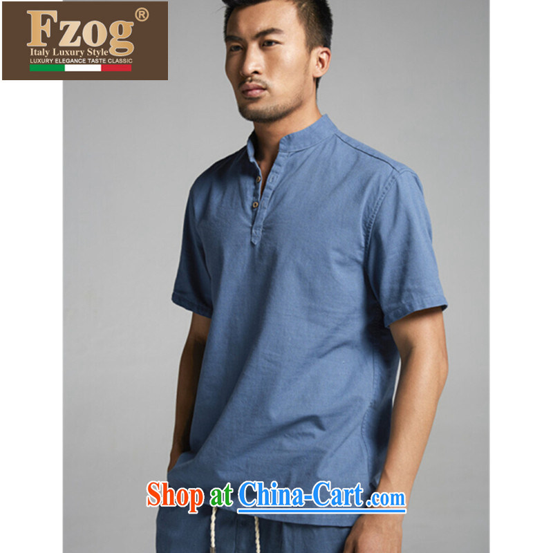 FZOG summer 2015 new leisure men's short-sleeved T-shirt China wind, breathable Solid Color Tang fitted jeans blue XXXL