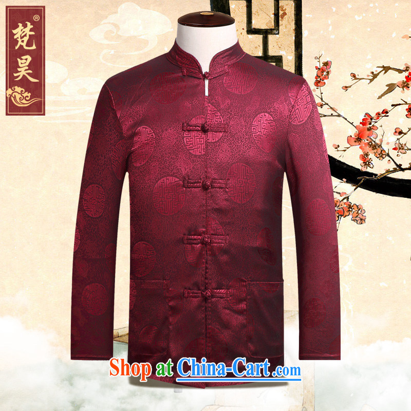 Vincent Ho Tang on men's summer long-sleeved Old Silk-tie retro T-shirt Ethnic Wind clothing CS 50 hi red 2 XL