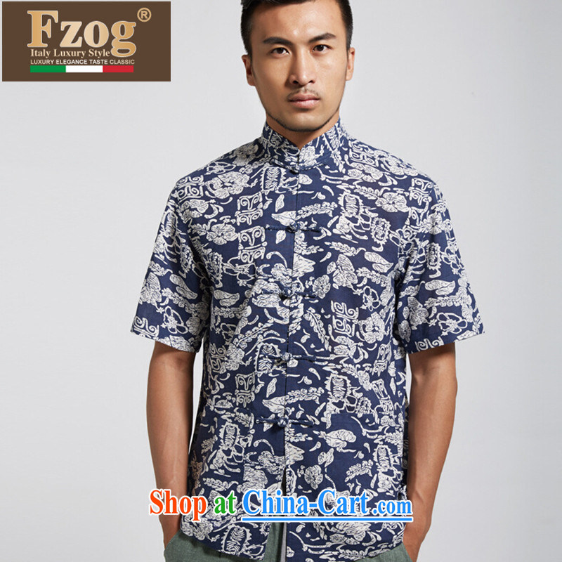FZOG genuine counters, and Tang with summer Chinese hand-ties, stamp duty for leisure, T-shirt, blue XXXXL